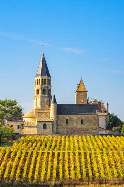 FRA10875AW France, Bourgogne-Franche-Comte, Burgundy, Saone-et-Loire, Chanes.  Romanesque church and vineyards.
