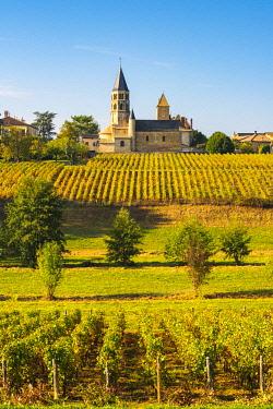 FRA10880AW France, Bourgogne-Franche-Comte, Burgundy, Saone-et-Loire, Chanes.  Romanesque church and vineyards.