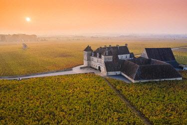FRA10991AW France, Bourgogne-Franche-Comte, Burgundy, Cote-d'Or, Vougeot. Clos de Vougeot and its vineyards.