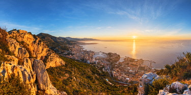 FRA11008AW France, Provence-Alpes-Cote d'Azur, French Riviera, Alpes-Maritimes, Principality of Monaco. Monaco skyline at sunrise from the Tete de Chien.