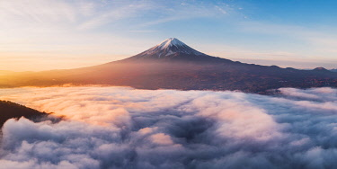 JAP1586AWRF Aerial view of Mt Fuji and sea of fog at sunrise, Yamanashi Prefecture, Japan.