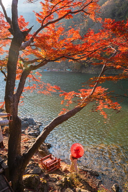 JAP1487AW Arashiyama, Kyoto, Kyoto prefecture, Kansai region, Japan. Woman with red umbrella and kimono admiring the view on Katsura river.