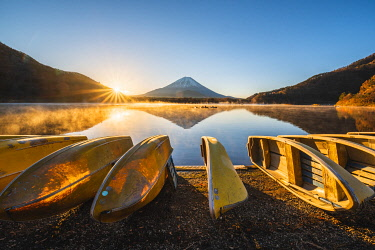 JAP1508AW Boats moored at lake Shoji and Mt. Fuji, Yamanashi Prefecture, Japan.