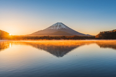 Mt Fuji seen from lake Shoji, Yamanashi Prefecture, Japan.