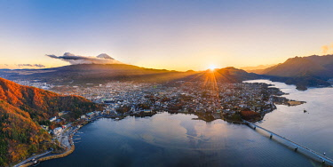 Aerial view of lake Kawaguchi and Mt Fuji at sunset, Yamanashi Prefecture, Japan.