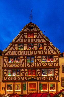 GER11527AW Half-timbered house with Advent calendar decoration, Bernkastel-Kues, Rhineland-Palatinate, Germany
