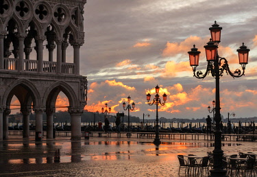 ITA13403AW Acqua Alta in St Marks square at sunrise, Venice, Veneto, Italy