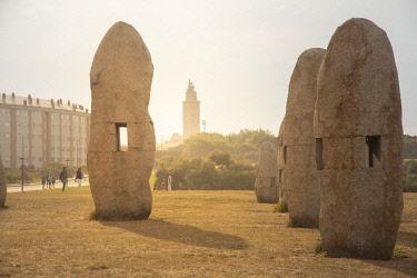 SPA8657AW Spain, Galicia, La Coruna, Torre de Hercules area, Archeological Park with menhir