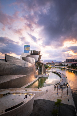 SPA8661AW Spain, Basque Country Region, Vizcaya Province, Bilbao, Guggenheim Museum by architect Frank Gehry. View at sunset