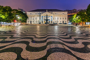 POR10183AWRF D. Maria II National Theatre or Teatro Nacional D. Maria II, Rossio Square, Lisbon, Portugal