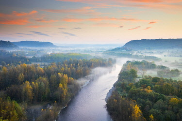 FRA11072AW Aerial view of the Dordogne Valley & Dordogne river on a misty morning in autumn, Lot, Midi-Pyrenees, France
