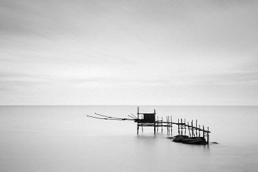 ITA13508AW Italy, Abruzzo, Trabocchi coast, stilt fishing huts near Ortona, Punta Aderci