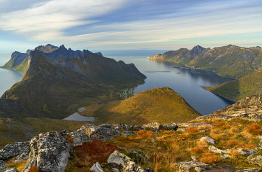 NW03453 Stunning view from mountains in Lofoten Islands, Norway