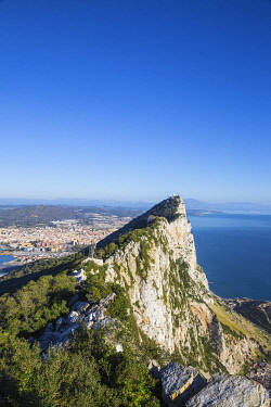 GB050RF Gibraltar, View of Gibraltar rock, in the distance is the Gibraltar - Spanish border at La Linea