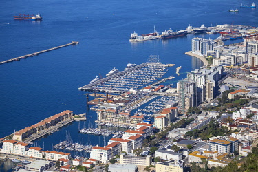 GB01146 Gibraltar, View from Gibraltar rock of town, Queensway Quay and small boats marina