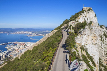 GB01162 Gibraltar, View of Gibraltar rock, Gibraltar and in distance La Linea, Spain