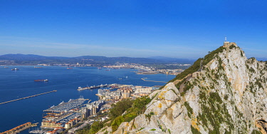 GB01163 Gibraltar, View of Gibraltar rock, Gibraltar and in distance La Linea, Spain