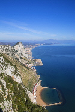 GB01164 Gibraltar, View of Gibraltar rock, Sandy Bay, Caltalan Bay with Spanish beaches in the distance