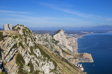 GB01165 Gibraltar, View of Gibraltar rock, Sandy Bay, Caltalan Bay with Spanish beaches in the distance