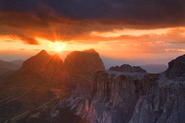 CLKFB95600 Stunning sunset on Sassolungo group. Fassa Valley, Trentino, Dolomites, Italy, Europe.
