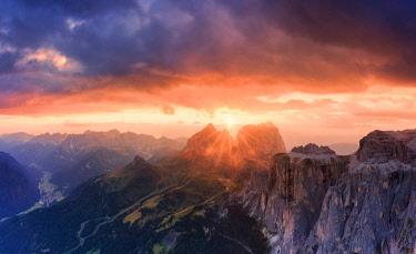 CLKFB95602 Stunning sunset on Sassolungo group. Fassa Valley, Trentino, Dolomites, Italy, Europe.