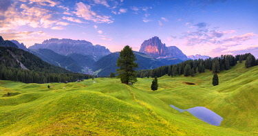 CLKFB95646 Panoramic view of Daunei pasture after the rain. Daunei, Selva Val Gardena, Gardena Valley, South Tyrol, Dolomites, Italy, Europe.