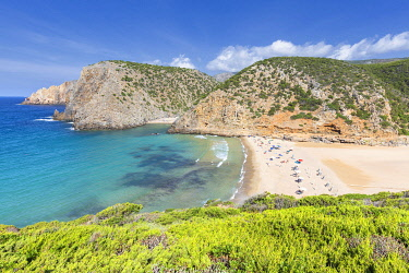 CLKFB99004 Beach of Cala Domestica from above, Iglesias, Sud Sardegna province, Sardinia, Italy, Europe.