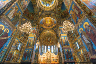 CLKFV99812 Interiors of the Church of the Saviour on Spilled Blood. Saint Petersburg, Russia.