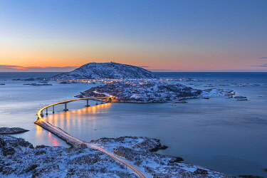 CLKGP92269 Sommaroy Island at dusk, Tromso, Halogaland district, Troms county, Northern Norway,