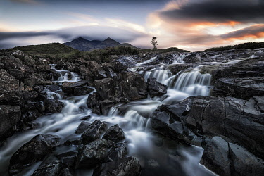 CLKMG95701 Sligachan waterfalls, island of Skye, Hebrides, Scotland, United Kingdom