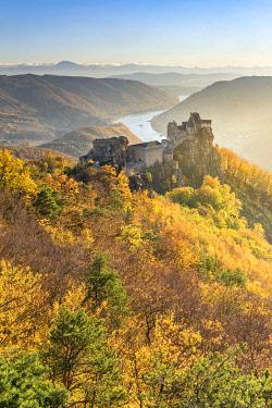 CLKMK98775 Schoenbühel-Aggsbach, Wachau, district of Melk, Lower Austria, Austria, Europe. The castle ruins of Aggstein