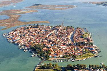 CLKNM97010 Burano aerial view. Venice, Veneto, Italy, Europe.