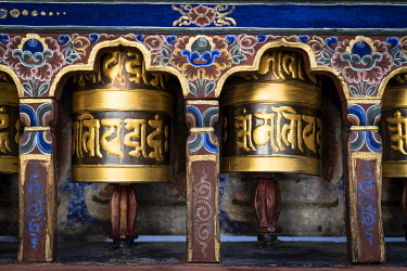 CLKSL98546 Prayer wheels. Kyichu Lhakhang also known as Kyerchu Temple or Lho Kyerchu. Paro District,  Bhutan