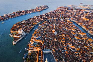 ITA13546AWRF Aerial view of city at sunrise, Venice, Italy