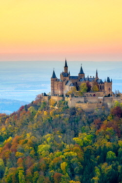 GER11538AWRF Burg Hohenzollern Castle at sunset, Bisingen, Baden-Württemberg, Germany