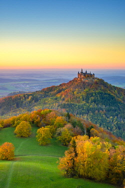 GER11542AWRF Burg Hohenzollern Castle at sunset, Bisingen, Baden-Württemberg, Germany