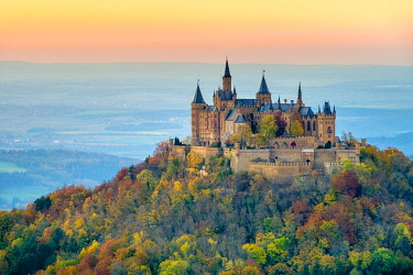 GER11543AWRF Burg Hohenzollern Castle at sunset, Bisingen, Baden-Württemberg, Germany