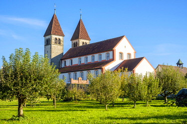 GER11552AW 15th-century towers on the Romanesque church of Sts Peter and Paul in Reichenau-Niederzell, Reichenau, Baden-Württemberg, Germany