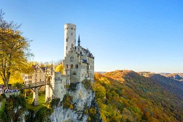GER11556AW Schloss Lichtenstein castle in autumn, Reutlingen, Baden-Württemberg, Germany