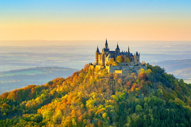 GER11560AW Burg Hohenzollern Castle at sunset, Bisingen, Baden-Württemberg, Germany