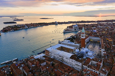 ITA13557AW Aerial view of St Mark's square at sunset, Venice, Italy