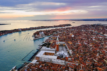 ITA13559AW Aerial view of St Mark's square at sunset, Venice, Italy