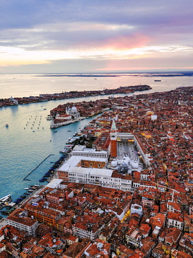 ITA13560AW Aerial view of St Mark's square at sunset, Venice, Italy