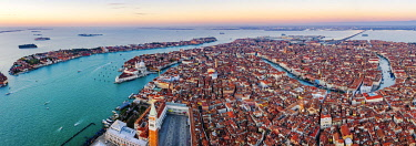 ITA13563AW Aerial view of St Mark's square at sunrise, Venice, Italy