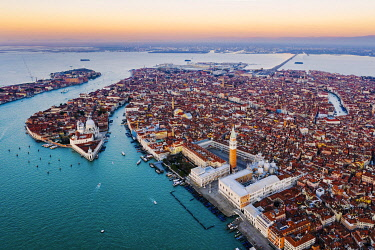 ITA13564AW Aerial view of St Mark's square at sunrise, Venice, Italy