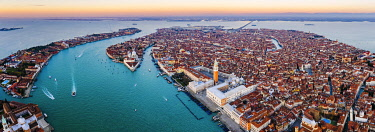 ITA13565AW Aerial view of St Mark's square at sunrise, Venice, Italy