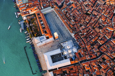 ITA13571AW Aerial overhead view of St Mark's square at sunrise, Venice, Italy