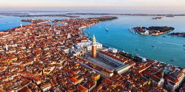 ITA13574AW Aerial view of St Mark's square and San Giorgio Maggiore church, Venice, Italy