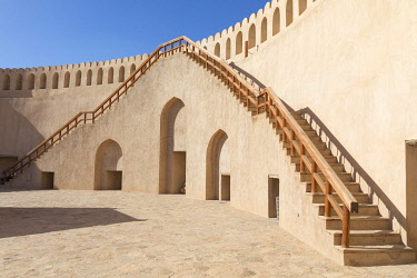 OMA2878AW Stairs leading up to the circular wall in the restored Bahla Fort, Tanuf, Oman