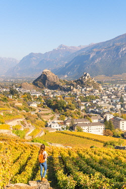 CLKAC99560 A young woman admires Sion town and its vineyards. Sion, Canton of Valais, Switzerland, Europe (MR)